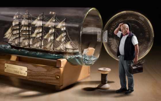 бутылке, бутылка, корабль
