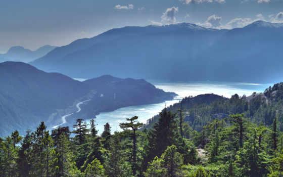 landscape, горы, природа, море, лес, water, trees, небо, зелёный, oblaka,