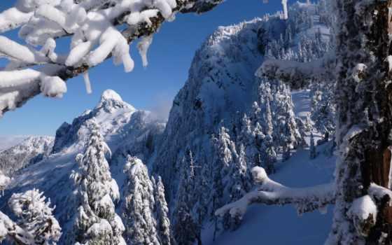 columbia, british, mountains, north, winter, канада, берег, vancouver, снег,