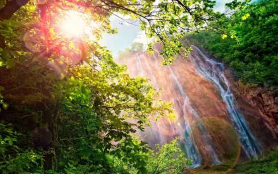 водопад, sun, блики, яркие, радуга, кусты, день, горы, landscape, trees,