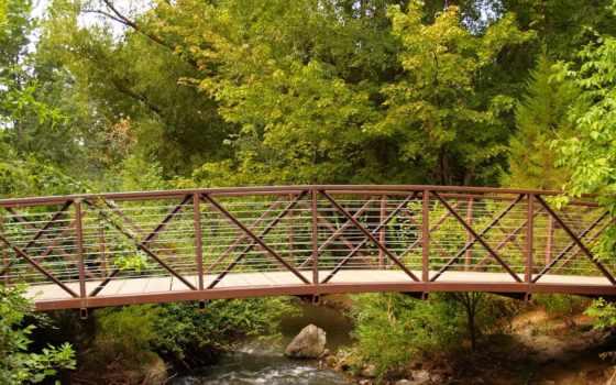 природа, мост, металлик, со, река, дерево, snowy, тропинка, desktop,