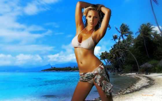 берег, пальмы, море, девушка, girls, devushki, купальник, hdr, заставки, красивые,