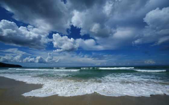 море, небо, oblaka, песок, берег, пляж, waves, горизонт, water,