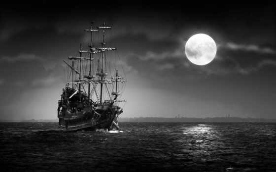 море, корабль, луна, ночь, print, плакат, яndex, collections, sailboat,