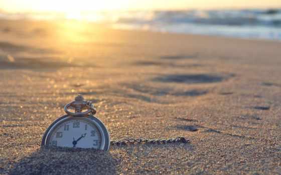 часы, песке, песок, ракушки, растровый, клипарт,
