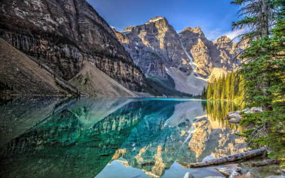 banff, горы, озеро, park, канадский, national, moraine, канада, морейн,