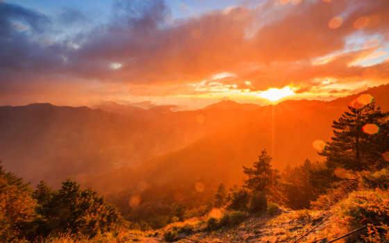рассвет, горы, лес, дымка, national, park, sun, taroko, rays, озеро,