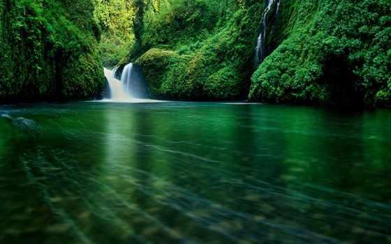 природа, водопад, зеленые