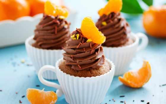 капкейки, кексы, мандариновые, сладкое, шоколадно, десерт, мороженое, торт, chocolate, еда,