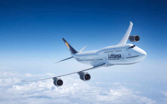 самолёт, небо, boeing, самолеты, авиация, lufthansa, авиалайнер, oblaka, пассажирские,