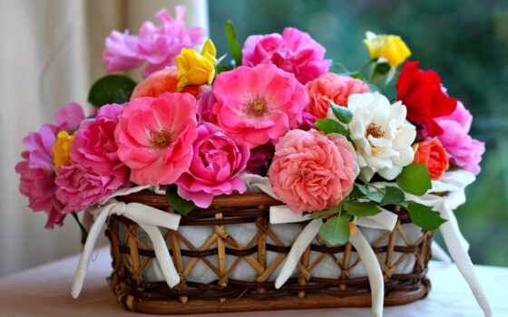 красивый, cvety, корзина, postcard, день, birth