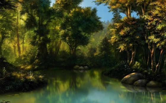 арт, лес Фон № 4396 разрешение 1920x1080