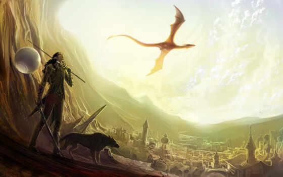 арт, дракон, эльф, dragon, обои, волк, меч, оружие