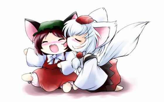 chibi, kids, fox, anime, animal, chen, ears, girls, girl,
