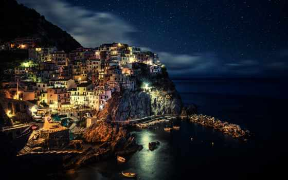 manarola, night, italy, desktop, download, resolution, spezia, province, liguria,