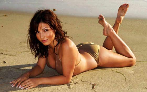 девушка, пляже, девушки