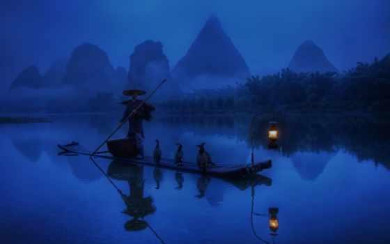 рыбак, лодка, china, утро, лампа, река, свет, туман, бакланы, графика,