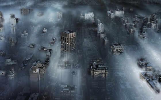 cidade, parede, papel, névoa, windows, york, cityscape, графика, sombria,