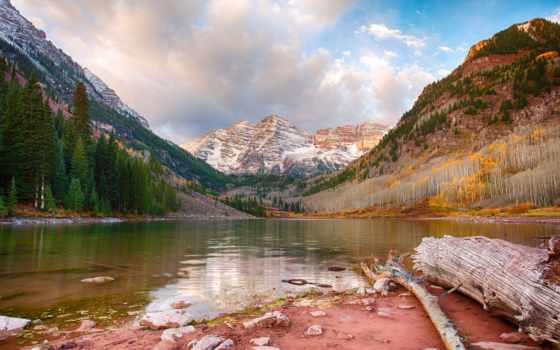 горы, озеро, бардовый, trees, landscape, лес,