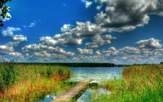 природа, полировка, lublin, hdri, lukcze, небо, лодка, озеро,