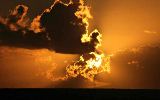 oblaka, sun, небо, садится, тёмные, круглое, крупные, огненные, кучевые, among, красивые,