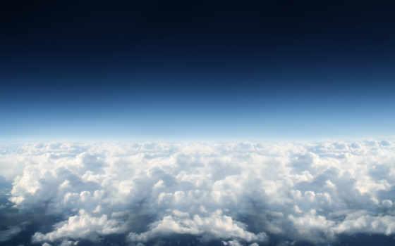 небо, облаками, со