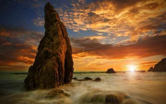 закат, море, скалы