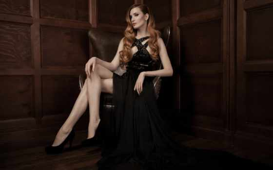 девушка, платье, sitting, кресло, сидя, женщина, цветы,