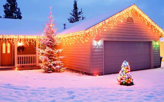 christmas, год, новый, trees, праздничные, обвесы, праздники, украшенный, двор,