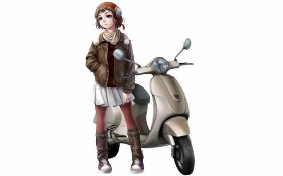 kotikomori, motorcycle, anime, tagme, zerochan, vespa, original, picsfab, tags, picture, women, изображения, изображение,