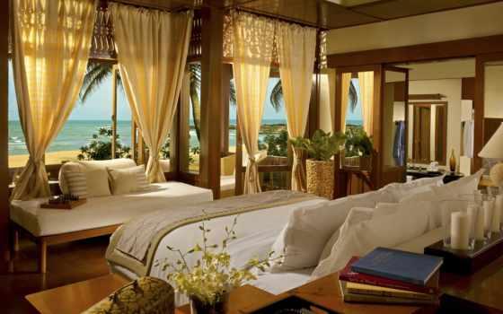 видом, спальни, море, спальня, интерьер, мебель,