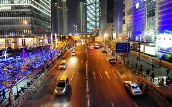 широкоформатные, можно, город, улица, космос, огни, июня, shanghai, china, любом,