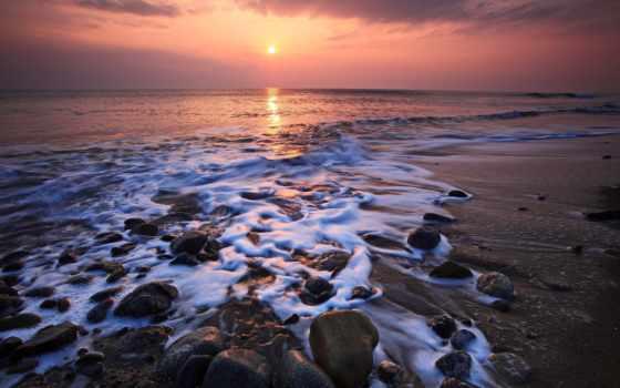 берег, море, закат