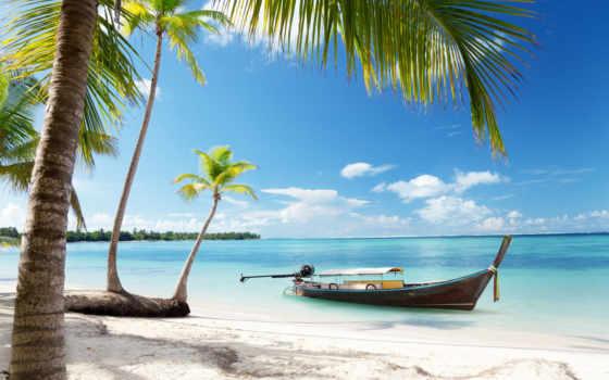 пляж, blue, море