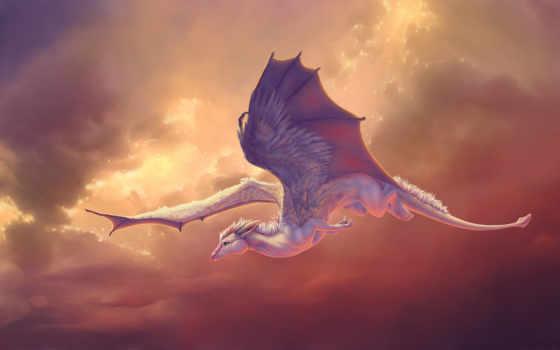дракон, небе, art