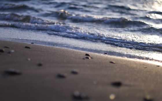 water, пляж, море, песок, природа, waves, shells, свет, макро, берег,