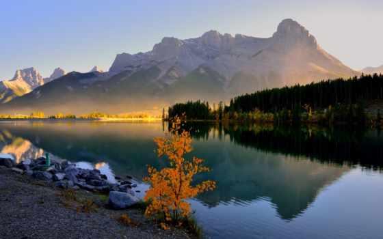 озеро, grassi, banff, канада, canmore, утро, гора, лес,
