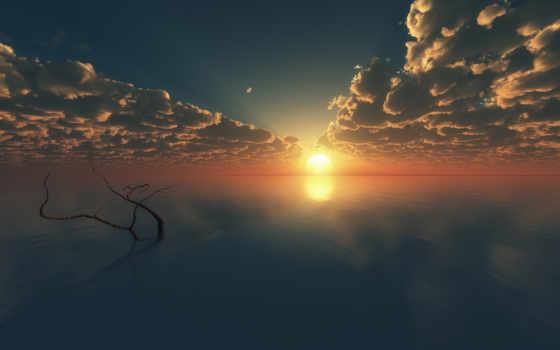 горизонт, море, закат, art, гладь, oblaka, branch, дерево, water, небо, sun,