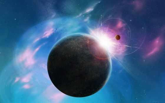 космос, розовый, планета, звезды, вселенная,