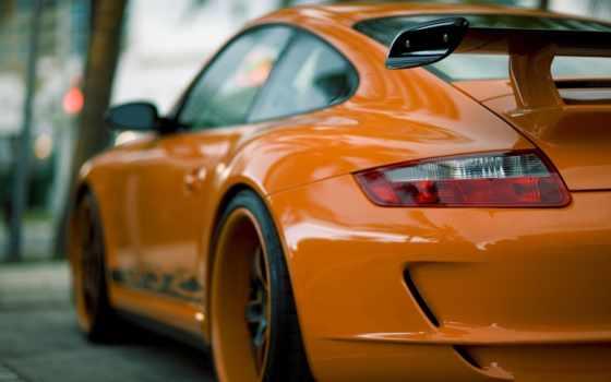 porsche, авто, оранжевый