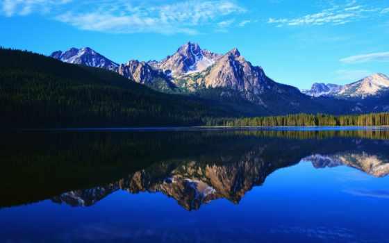 озеро, горы, вечер