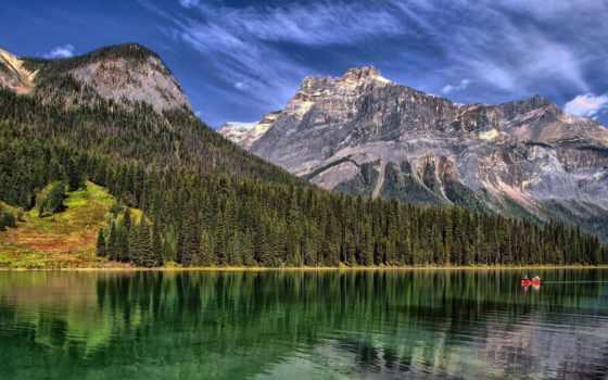 озеро, горы, река, трава, trees, emerald, вершины, природа, landscape,