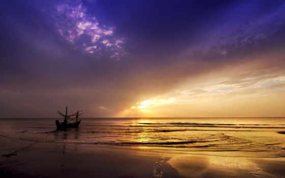 качестве, высоком, корабль, природа, fone, красивые, самые, закат, воде, море,