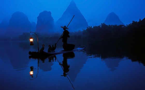 китаянка, рыбак, свет, река, утро, лодка, природа, lantern, бакланы, узком,