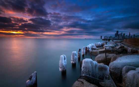 природа, chicago, город, сша, winter, зимние, закаты, природы, рассветы, горизонт, штаты,