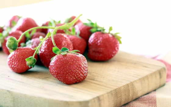 клубника, ягоды, доска,