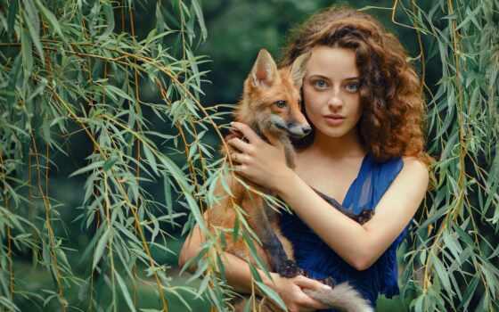 blue, фокс, порода, девушка, собака, northern, платье, глаз, группа, redhead, женщина
