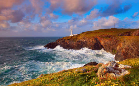море, landscape, маяк, волны, ocean, небо, скалы, буря, берег,
