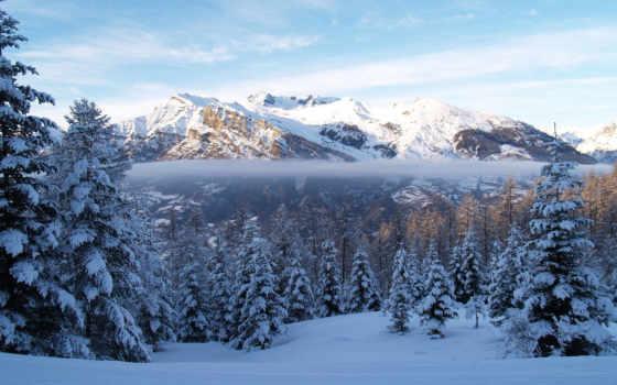 winter, снег, горы, туман, природа, лес, eli, ёль,