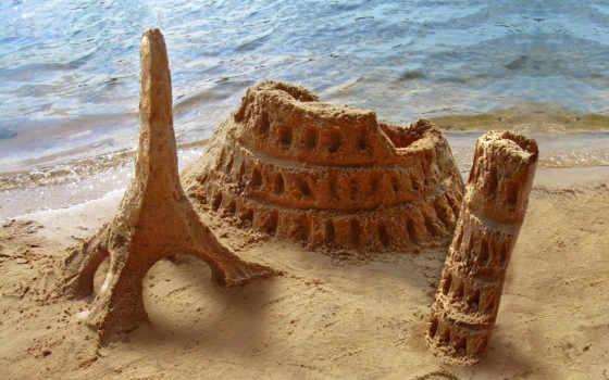 замки, песка, children, turret, пляже, фотоклипарт, rylik, море, изображения, моря, песок,